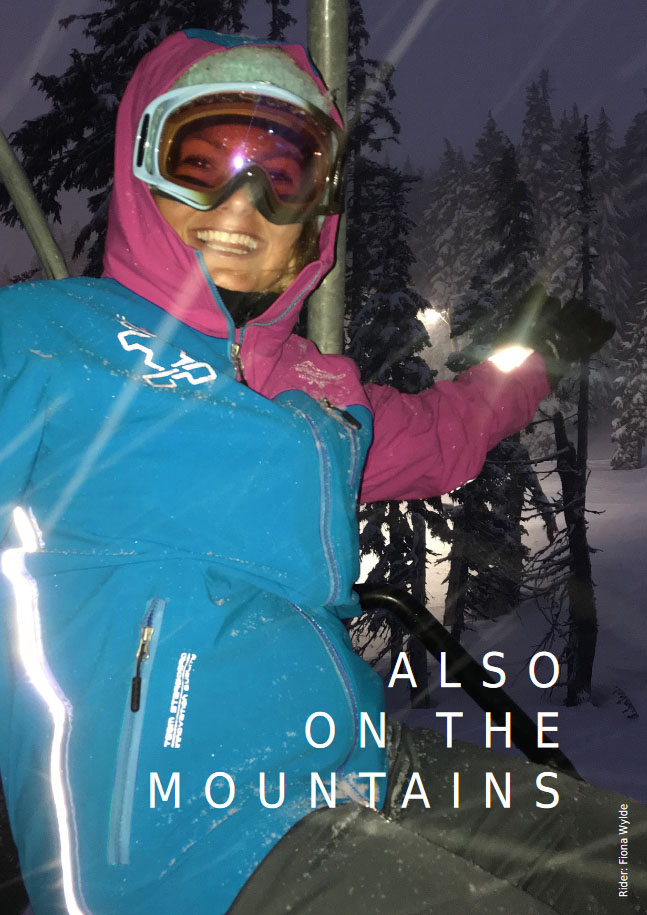 Fiona Wylde im Schnee mit der Starboard Apparel Circle Jacket